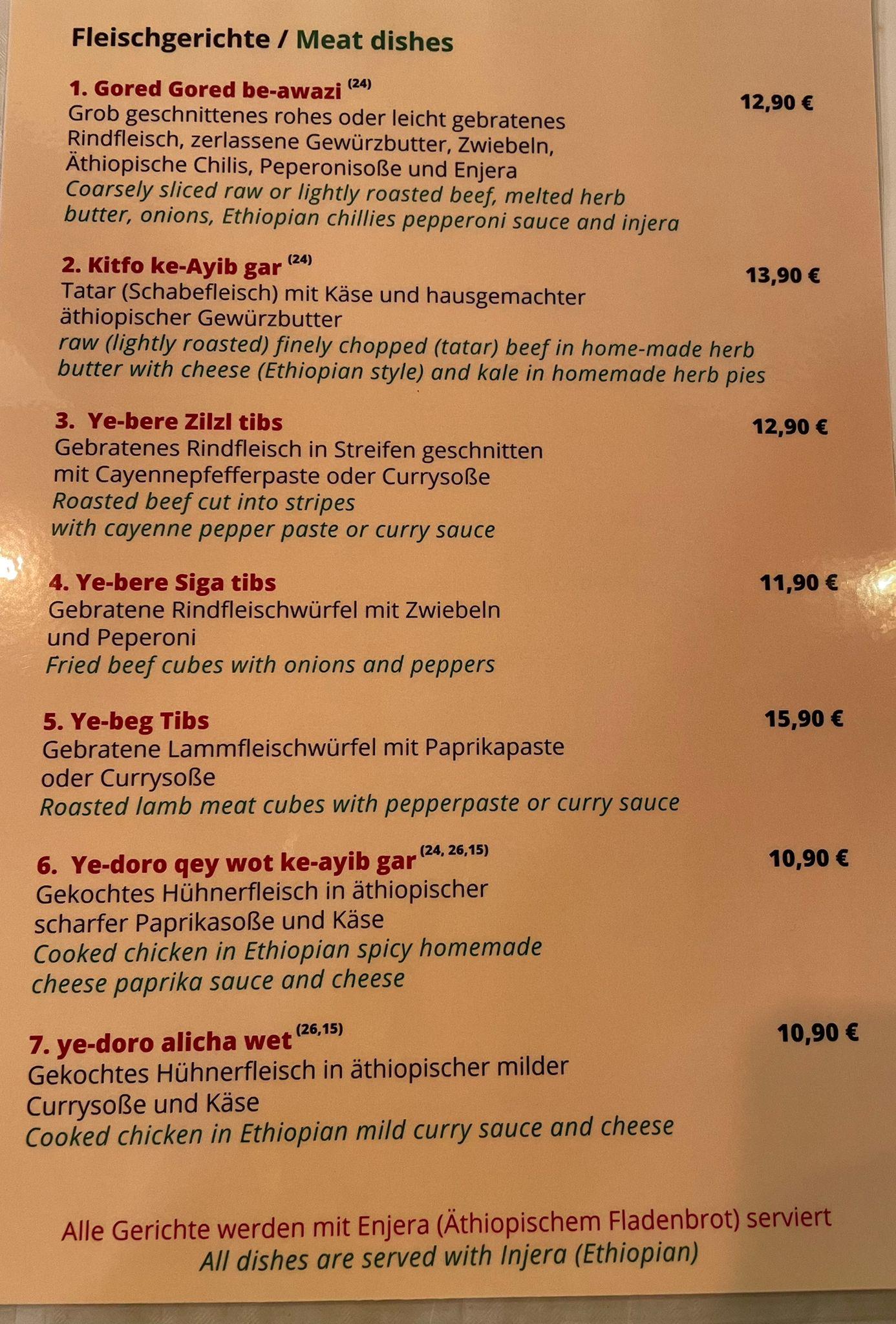 Speisekarte Addis Abeba äthiopisches Restaurant Berlin Fleischgerichte