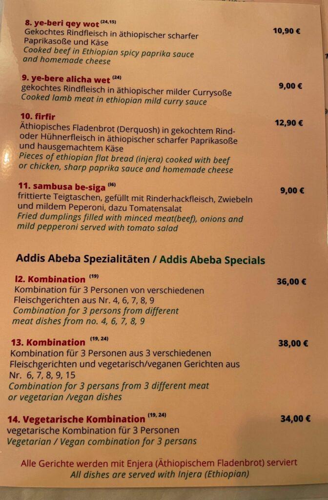 Speisekarte Addis Abeba äthiopisches Restaurant Berlin Specials